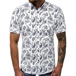 d137f1827f1fc Koszula męska Ozonee w abstrakcyjne wzory w stylu młodzieżowym z klasycznym  kołnierzykiem