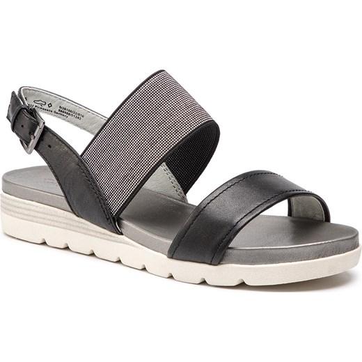 f13f71a9820ce0 Caprice sandały damskie czarne płaskie na platformie gładkie z klamrą