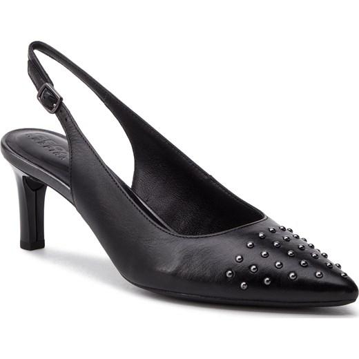 Sandały damskie Geox z klamrą na obcasie z tworzywa sztucznego na średnim bez wzorów Buty Damskie CY czarny Sandały damskie AWXN