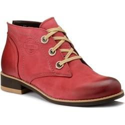 d403ce55 Botki Venetto czerwone casualowe płaskie wiązane