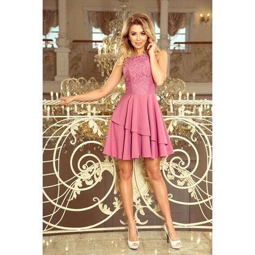 4a231367dc ... Sukienka Saf koronkowa elegancka różowa na wesele asymetryczna bez  rękawów na bal ...
