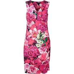 958820708e3ed2 Sukienka Cellbes midi różowa bez rękawów na spacer casual w kwiaty kopertowa