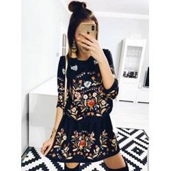 e2f70b79602b9 Sukienka Pakuten trapezowa casual na spacer z okrągłym dekoltem z długim  rękawem
