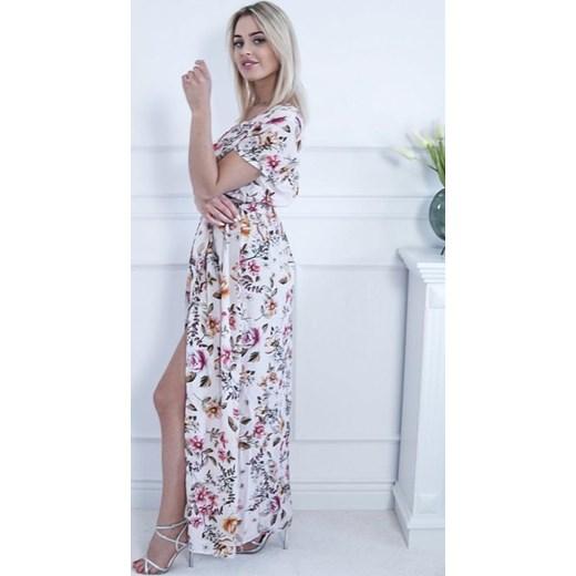 5c19e3dd95 Sukienka z krótkim rękawem w kwiaty prosta maxi  Sukienka w kwiaty maxi ...