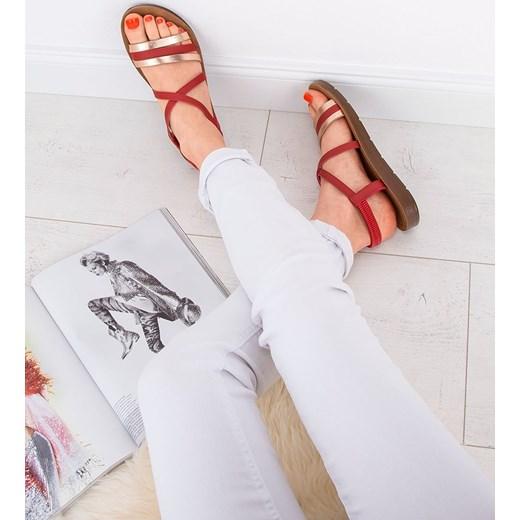 Sandały damskie Super Mode płaskie gładkie z tworzywa sztucznego Buty Damskie SN czerwony Sandały damskie LIKZ