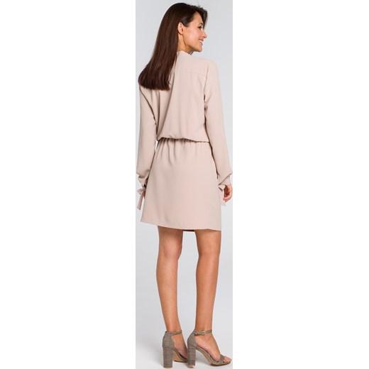 c74207701f Sukienka Style z długim rękawem midi z żabotem biznesowa  Style sukienka z  żabotem z długim rękawem ...