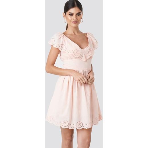 2297e45295 Sukienka NA-KD Boho mini wiosenna na co dzień z krótkimi rękawami w ...