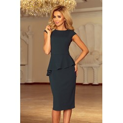 33cf7dde8c Sukienka Numoco elegancka zielona z krótkim rękawem midi na spotkanie  biznesowe