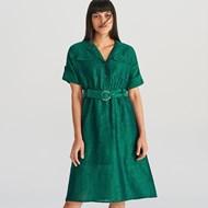 bc1e8b2376 Sukienka Reserved midi do pracy zielona bawełniana bez wzorów