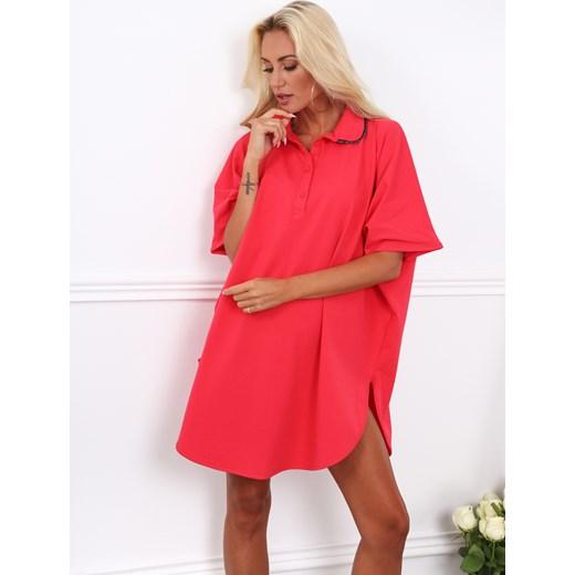8fff06ed56 Sukienka różowa Fasardi bez wzorów na randkę mini luźna oversize w ...