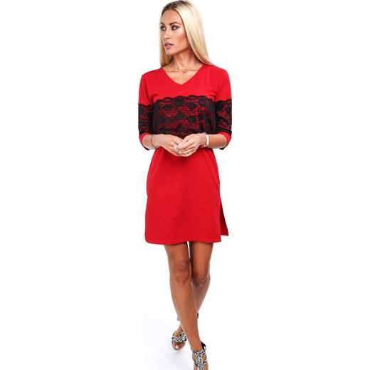 9e6703265e Sukienka Fasardi czerwona gładka bawełniana w Domodi