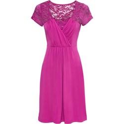aad74fed22 Sukienka BODYFLIRT na urodziny fioletowa z krótkim rękawem midi koronkowa  prosta