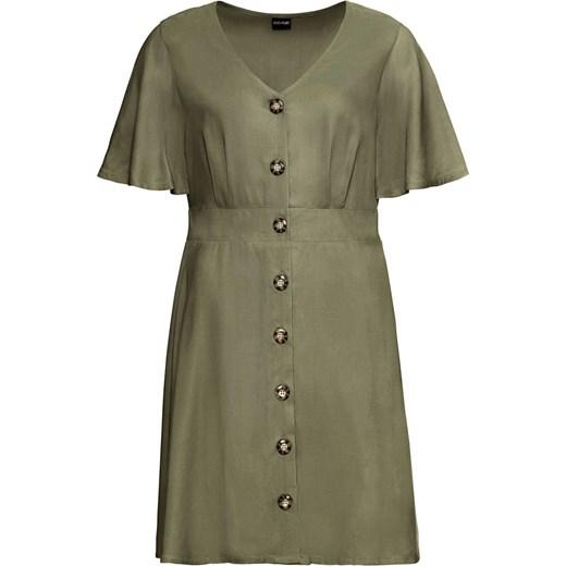 d9af9758 Sukienka Bonprix na co dzień szmizjerka mini casualowa z krótkim rękawem z  dekoltem v