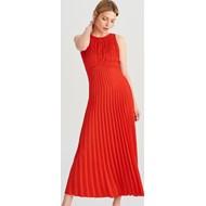 46b6474011 Sukienka Reserved czerwona bez rękawów na karnawał elegancka maxi bez wzorów