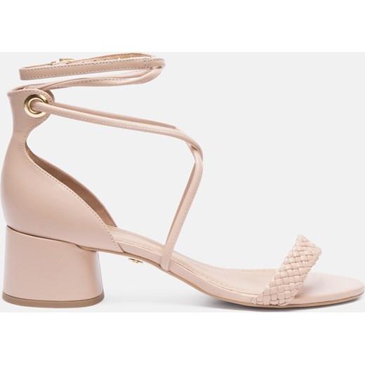 1b8dd138f0fb1 Kazar sandały damskie różowe bez wzorów sznurowane w Domodi