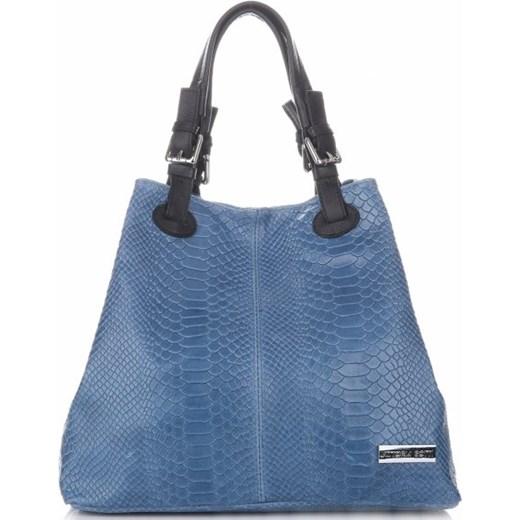 12e5b7f1508c2 Włoskie Torebki Skórzane wzór Aligatora Niebieskie - Jeans (kolory)  Vittoria Gotti PaniTorbalska