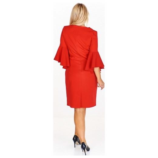2f36bb211c ... Filloo sukienka casual pomarańczowy z dekoltem v z długim rękawem ...