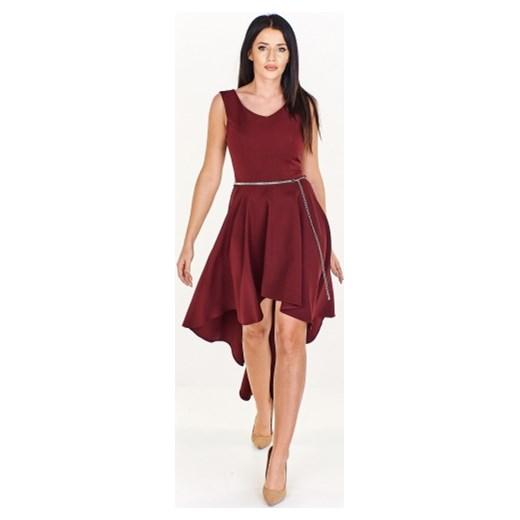 e9a5a4642c Czerwona sukienka Kaja midi asymetryczna z okrągłym dekoltem bez ...