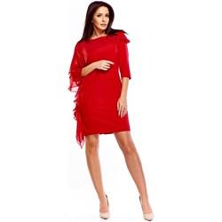 56d0aec99e Czerwone sukienki asymetryczne długi rękaw okrągły