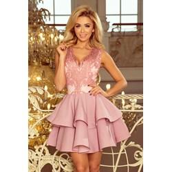 1c1c364243 Sukienka Numoco rozkloszowana różowa
