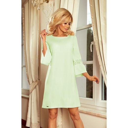 535984bdb4 Zielona sukienka Numoco mini elegancka trapezowa z okrągłym dekoltem ...