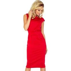 d563acf346 Numoco sukienka midi z okrągłym dekoltem czerwona na spotkanie biznesowe  ołówkowa