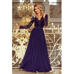 71ecf372c0 Niebieska sukienka Numoco koronkowa z długim rękawem maxi balowe prosta