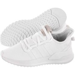 Buty sportowe damskie Adidas do biegania na płaskiej podeszwie z tworzywa sztucznego białe bez wzorów