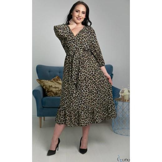 1b6d4d5a2b31a5 Sukienka casualowa z długim rękawem w zwierzęce wzory w Domodi