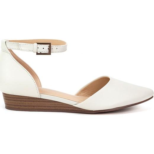 Sandały damskie Clarks białe gładkie skórzane eleganckie Buty Damskie DC biały Sandały damskie VHAD