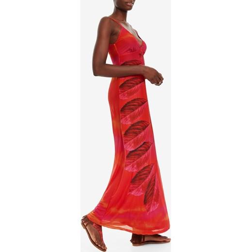 1244f56841 Sukienka Desigual na uczelnię prosta z dekoltem v w Domodi