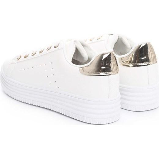 6b17a1739085f ... Białe trampki damskie Renee sznurowane młodzieżowe ze skóry  ekologicznej bez wzorów ...