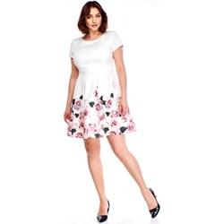 ad9506a2b8 Iwa sukienka biała z okrągłym dekoltem trapezowa