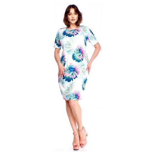 aadf63e574 M m sukienka w kwiaty na spacer prosta z okrągłym dekoltem w Domodi