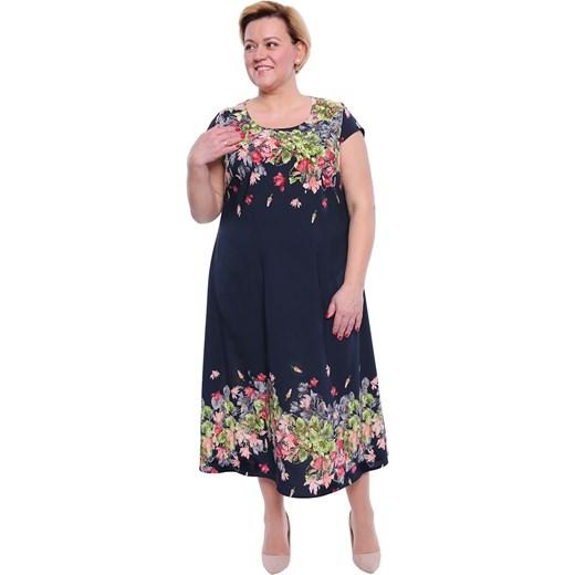 7173a23554a263 Sukienka granatowa oversize z wiskozy w kwiaty casualowa w Domodi