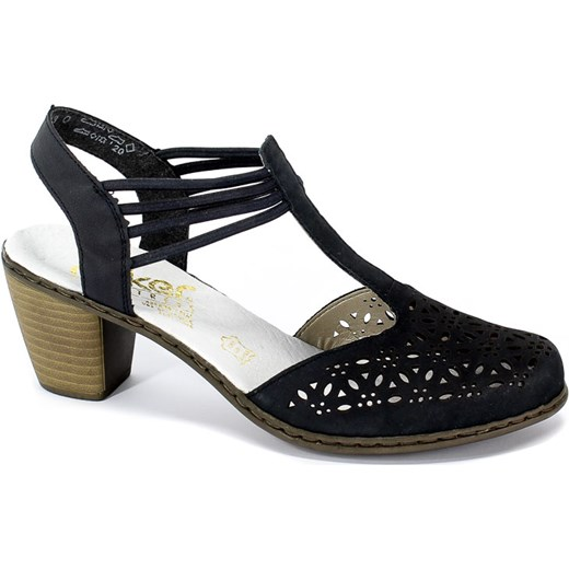 bc9bc069c321e1 Czarne sandały damskie Rieker casualowe na średnim obcasie gładkie ...