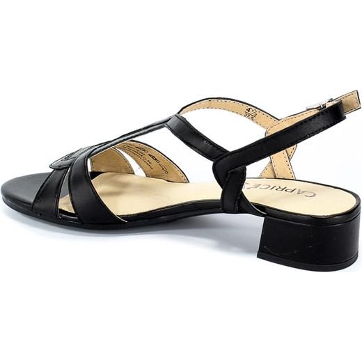 Sandały damskie Caprice z niskim obcasem skórzane casual z klamrą