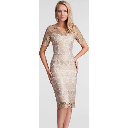Sukienka Livia Clue na wesele z okrągłym dekoltem z krótkim rękawem ołówkowa midi