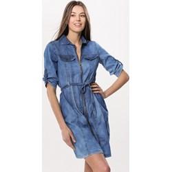 a999048418e55 Sukienka Born2be w miejskim stylu na spacer jeansowa z krótkim rękawem