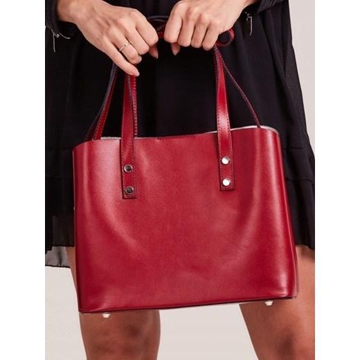 bc752a4500b28 Włoska skórzana torebka shopper bag czerwona Rovicky TWR-61 Rovicky  uniwersalny Skorzana.com ...