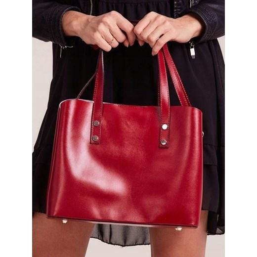 85d82a38e7627 ... Włoska skórzana torebka shopper bag czerwona Rovicky TWR-61 Rovicky  uniwersalny Skorzana.com