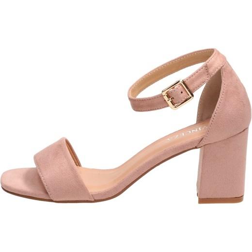 9c77bdc395bd1 ... Sandały damskie Vinceza na średnim obcasie eleganckie różowe z klamrą  bez wzorów na