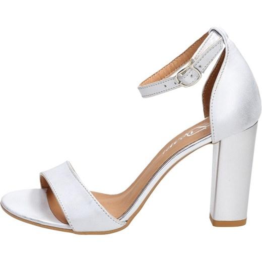 Sandały damskie Deoni białe na średnim obcasie na