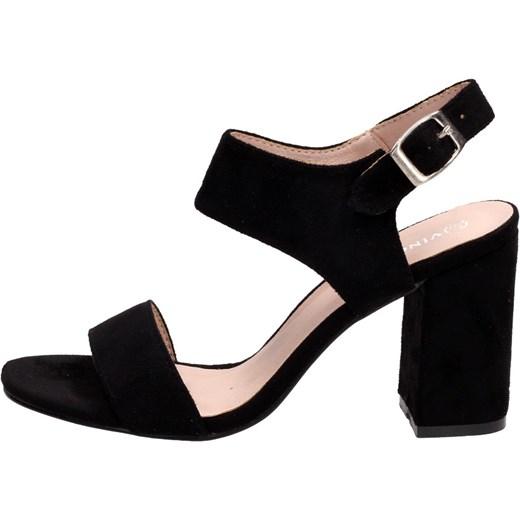 Sandały damskie czarne Vinceza eleganckie gładkie z klamrą Buty Damskie DH czarny Sandały damskie MEAQ