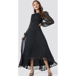 02622a21f5 Sukienka NA-KD Trend granatowa karnawałowa szyfonowa gładka z długim  rękawem maxi