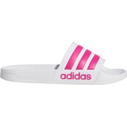 7e978e5602 Klapki damskie Adidas Performance na lato białe na płaskiej podeszwie bez  wzorów