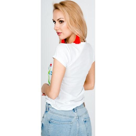 f982dd250f2a0c Biała bluzka damska Zoio z okrągłym dekoltem z krótkim rękawem; Zoio bluzka  damska z okrągłym dekoltem w kwiaty; Bluzka damska Zoio ...