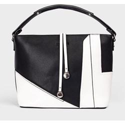4f433f47efd37 Shopper bag wielokolorowa Femestage matowa z poliestru z breloczkiem  mieszcząca a4