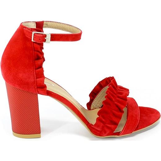 Sandały damskie Kati z klamrą gładkie skórzane na obcasie na średnim eleganckie