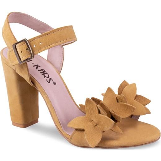 Żółte sandały damskie Lan-Kars z klamrą z nubuku bez wzorów na słupku eleganckie na wysokim obcasie Buty Damskie CD żółty Sandały damskie YXWG